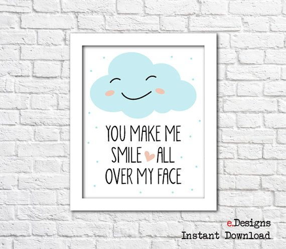 Printable Nursery Wall Art Baby Blue Smily Cloud Wall by eDesignss