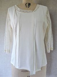 Marcy Tilton pieced t-shirt in ivory