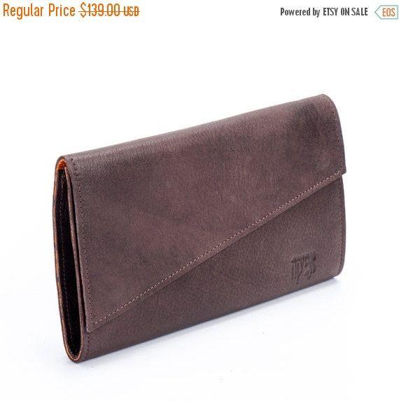 Eggplant Brown Leather Wallet / Envelope Evening Wallet / Elegant Wallet / Cards Slots Wallet / Women Purse / Soft Leather Wallet  - Macy