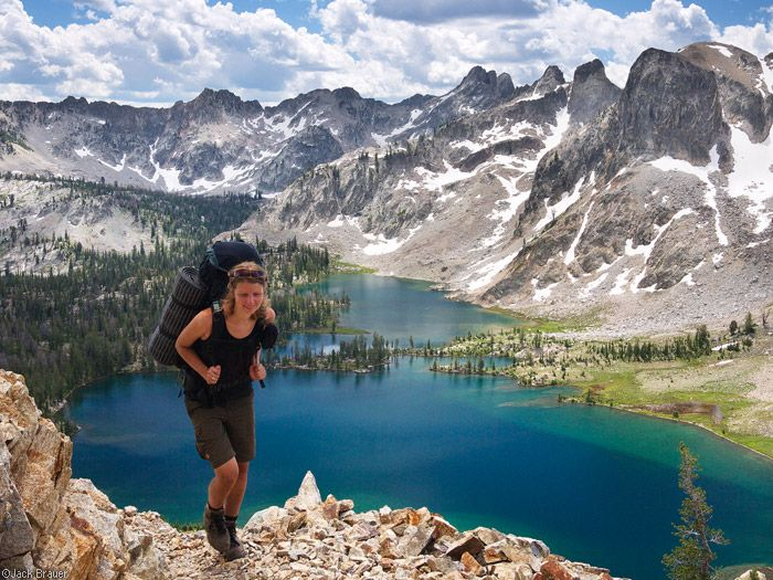 Hiking Above Twin Lakes in the Sawtooth Mountains, ID