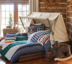 I wonder if I could figure out a way to make this tent over my son's bed?! Toddler Beds, Kids' Beds & Kid Beds | Pottery Barn Kids
