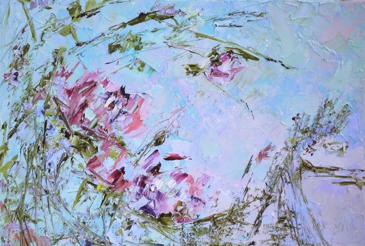Бирюзовая картина с цветами астры, пионы. Марина Маткина. Объемные картины.