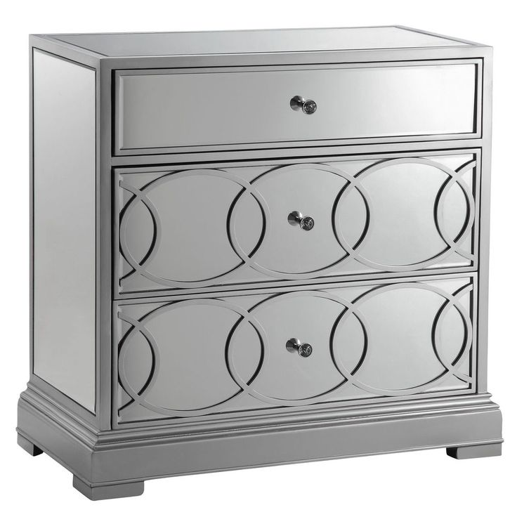 Emporia Silvertone Mirrored Storage Chest Coffee Table Style Modern Console  Room