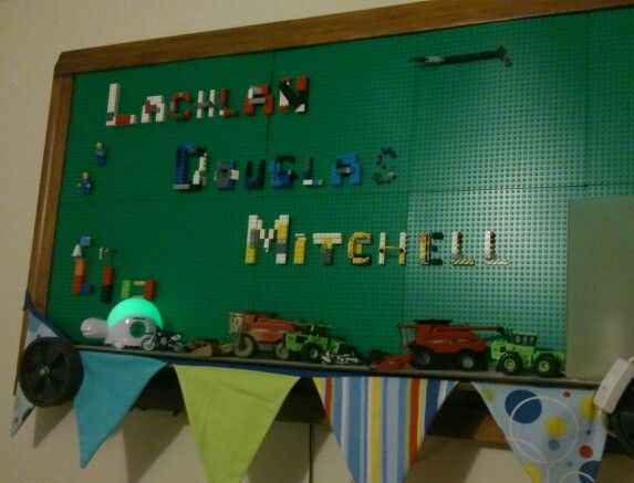 Lego wall hanging for kids room/to play on. Upcycled cot side