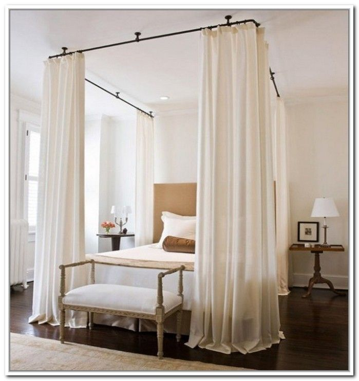 Canopy Bed Curtain Rods Genwitch Inside The Stylish As Well As