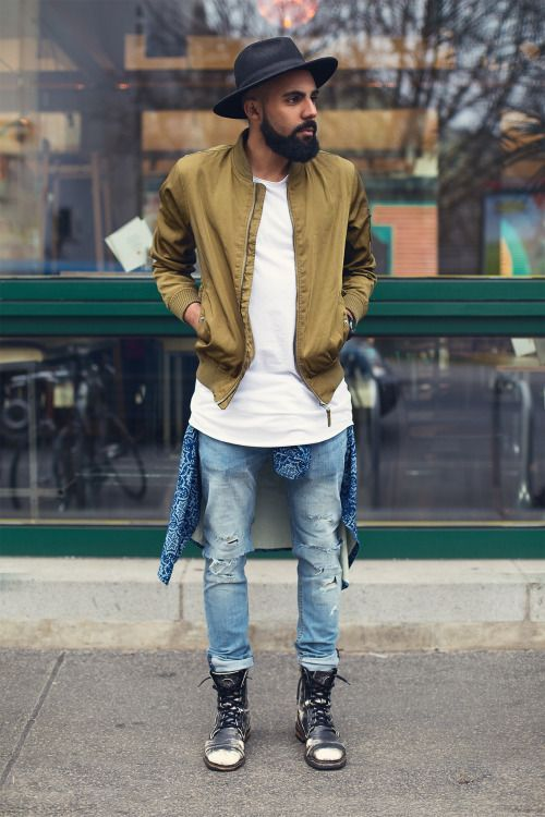 Perfect Street Style look with Bomber Jacket styled with Destroyed Jeans and a pair of Boots
