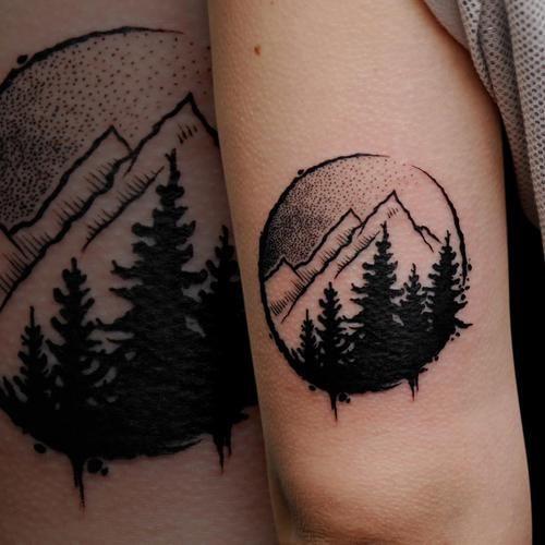 mountain trees tattoo - Google Search