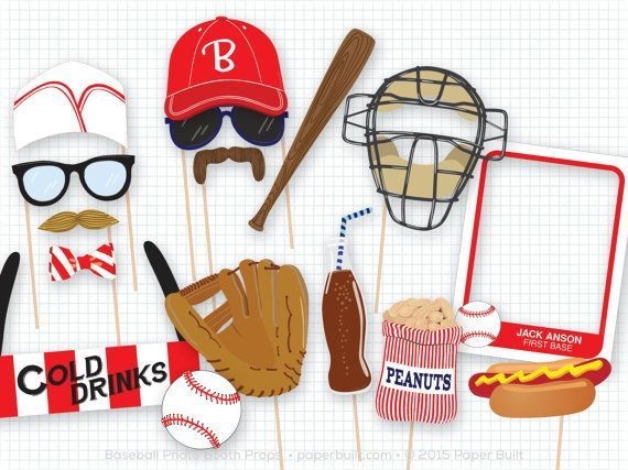 Baseball Photo Booth Props Sports Photobooth by PaperBuiltShop