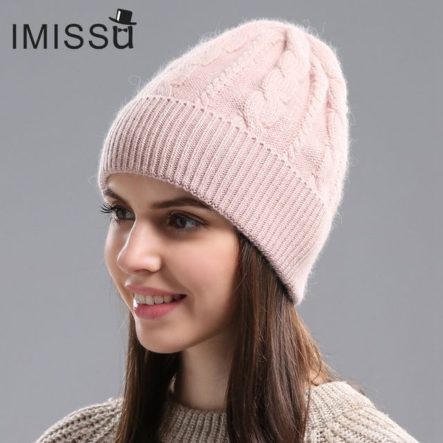 Good Price $9.90, Buy IMISSU Autumn Winter Beanies Women's Winter Hats Knitted Wool Skullies Casual Cap Solid Colors Gorros Bonnet Femme Hat for Girls