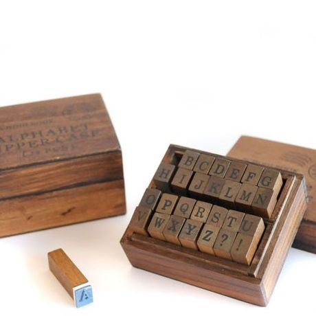 wooden 'old schoolbook' stamp set uppercase