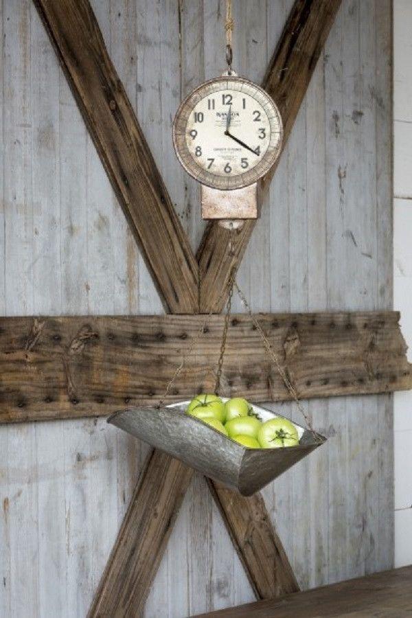 Hanging General Store Hansen Produce Scale Farmhouse Clock
