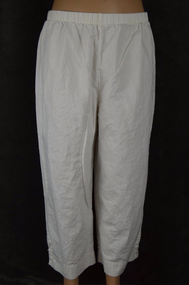 Hot Cotton ladies large L white elastic capris linen SEE CONDITION #HotCotton #CaprisCropped