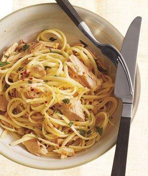 lemony tuna and olive oil pasta, via real simple