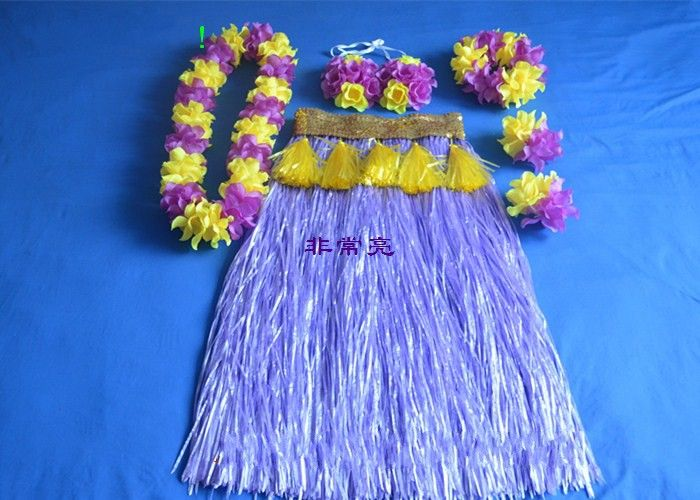 2016 Hawaiian grass skirt suit value 80 cm with thick grass skirt corset loops a rival head neck set of 6 pieces of performance