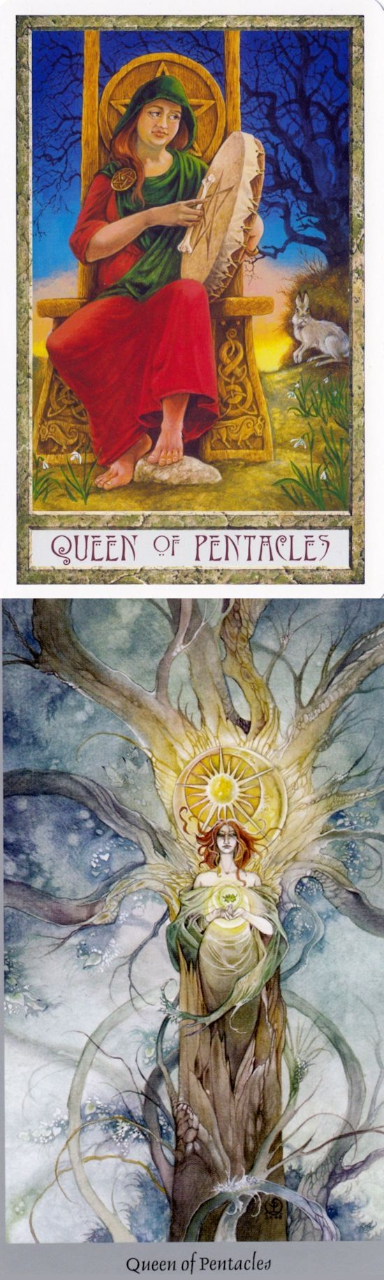 Queen of Pentacles: domestically talented woman and imbalance of work and home life (reverse). Druid Craft Tarot deck and Shadowscape Tarot deck: tarot spreads, free psychic reading online vs my tarot card reading. Best 2018 tarot cards tattoo and goth girl. #empress #hangedman #ios