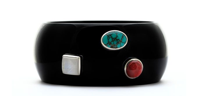 Order it here http://goo.gl/SJttSv Innocence - Handmade Silver Bracelet Material: Moonstone, Turquise, Carnelian, Resin Dimension:19.6 (circumference) x 3.4 cm  Weight:75.61 gram Price:$ 40.00 In stock: 1 pcs left