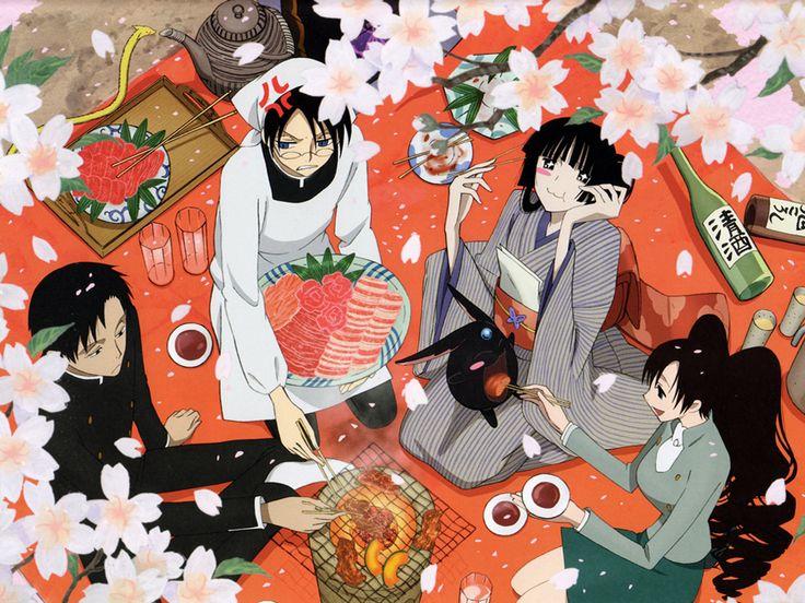 XXXHolic-Clockwise,  Watanuki, Yuuko and Mokona, Himawari, and Doumeki.
