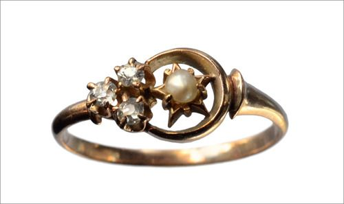 1890s Victorian Stars and Crescent Moon Ring, 14K (in the online shop)