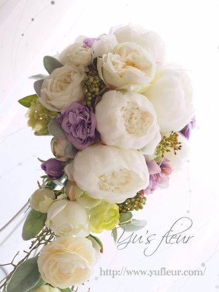 Yu's fleur (ユーズフルール)Wedding flower 港区ベイエリア flower Salon   大輪のぼたんのキャスケード~ティアードブーケ