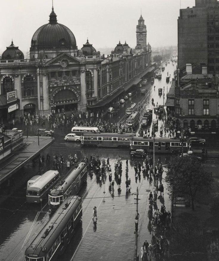 Melbourne with rain, 1946  © Max Dupain via reddit - Historical Times