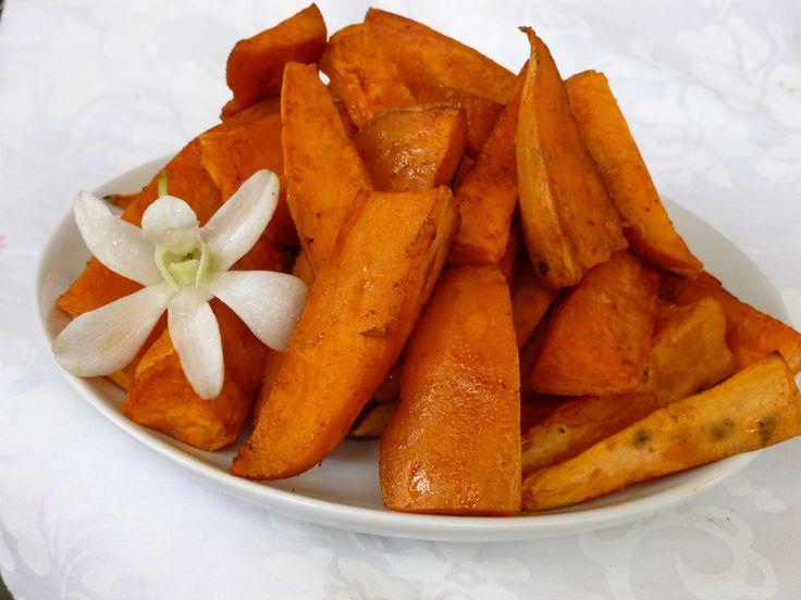 Foto recept: Zoete aardappelpartjes uit de oven