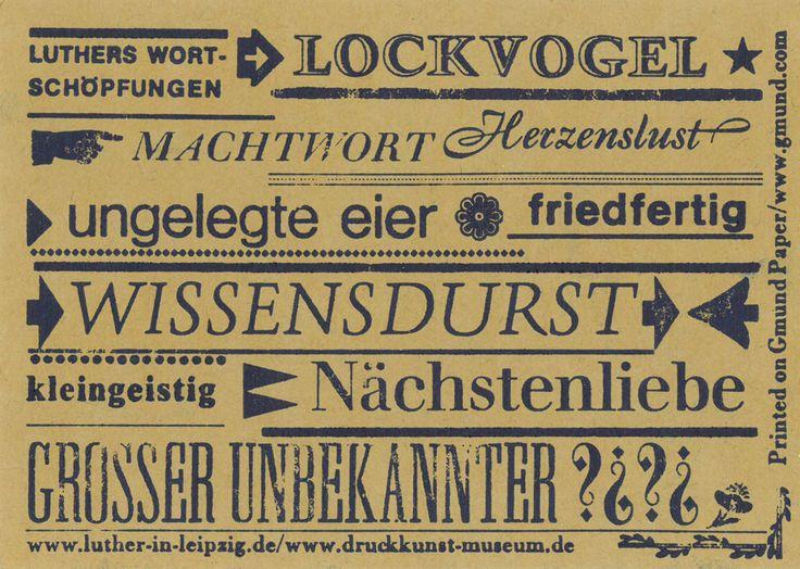 Das Lutherjahr 2017 wirft seine Schatten voraus. Eine Postkarte mit Luthers Wortschöpfungen. Gedruckt im Museum für Druckkunst Leipzig. /// Foto: Museum für Druckkunst Leipzig