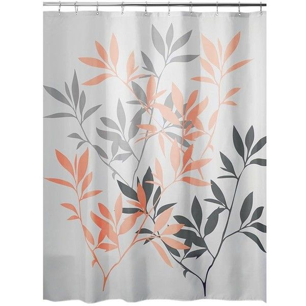 InterDesign Leaves Shower Curtain - Gray and Coral ($52) ❤ liked on Polyvore featuring home, bed & bath, bath, shower curtains, coral shower curtains, grey shower curtains and gray shower curtains