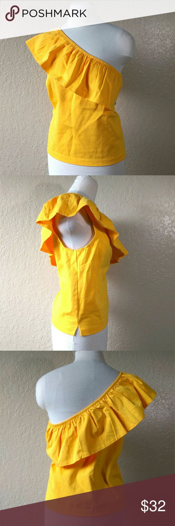 """J Crew bright yellow one shoulder ruffle top Women's J Crew bright yellow one shoulder ruffle top. Size large. Brand new, no tags. 100% cotton. Made in the Philippines.  Armpit to armpit: 20"""" Length: 23"""" J. Crew Tops Blouses"""
