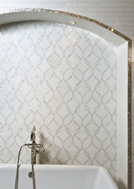"Thassos Claridges Stone & Shell Water Jet Mosaic 9-1/4"" x 24"" x 3/8"" Description: Inter-twining ribbons of iridescent white fresh water mother of pearl juxtaposed against a graceful background of polished snow white marble."
