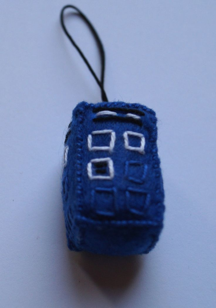 Doctor Who Tardis handmade geeky key ring made from felt