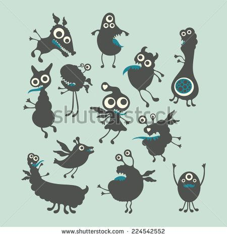 Happy monsters vector illustrations. Mega Set 3 #monsters #monsterillustration #vectorpattern #patterndesign