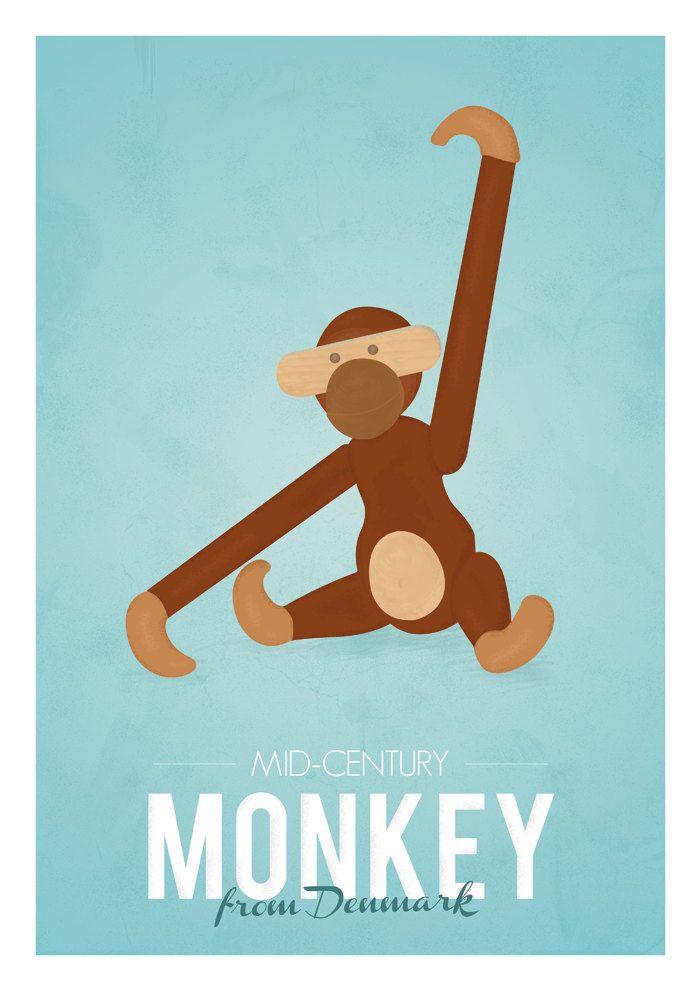 Retro poster of the wooden monkey designed by the #Danish designer Kay Bojesen