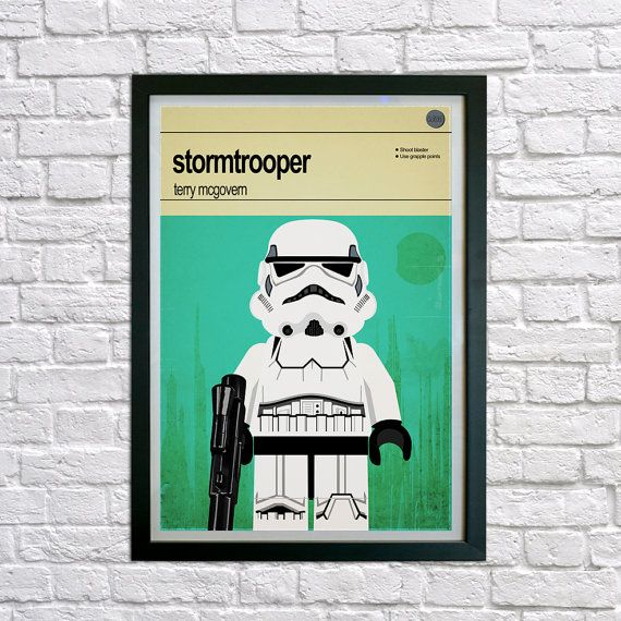 "This is a stylish framed poster print of the Lego Star Wars stormtrooper character, fit to grace any man cave or children's bedroom. Hand drawn with a graphics tablet and pen this print is styled with typography and features the actor who voiced the infamous line in the original Star Wars, ""these aren't the droids we're looking for"". It also features the Lego Starwars character abilities."