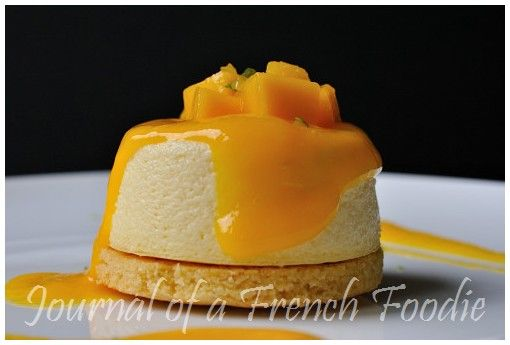Passionfruit cheesecake with mango coulis