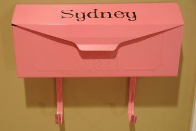Metal mailboxes spray painted...outside kids bedrooms. I really want to do this! And leave them little notes, any mail they get, some treats, etc. Then they can hang their backpack and coat on the hooks! GREAT idea!