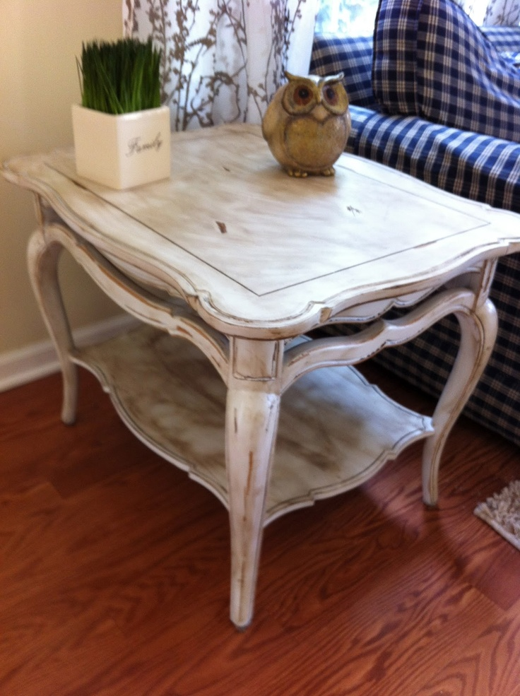 Shabby Chic Distressed End Table Restoration Plantation Weathered Furnituredistressed Furniturefurniture