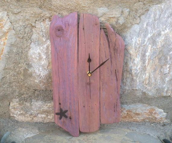 Driftwood Wall Clock In Mauve Tones With Non-Tick by kormendesigns