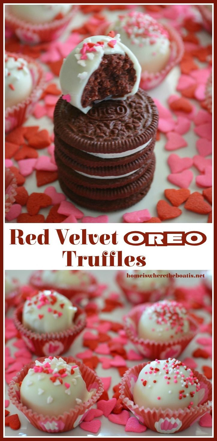Red Velvet Oreo Truffles! A no bake treat for Valentine's Day with Limited Edition Red Velvet Oreos | Home is Where the Boat Is #valentinesday #dessert #nobake
