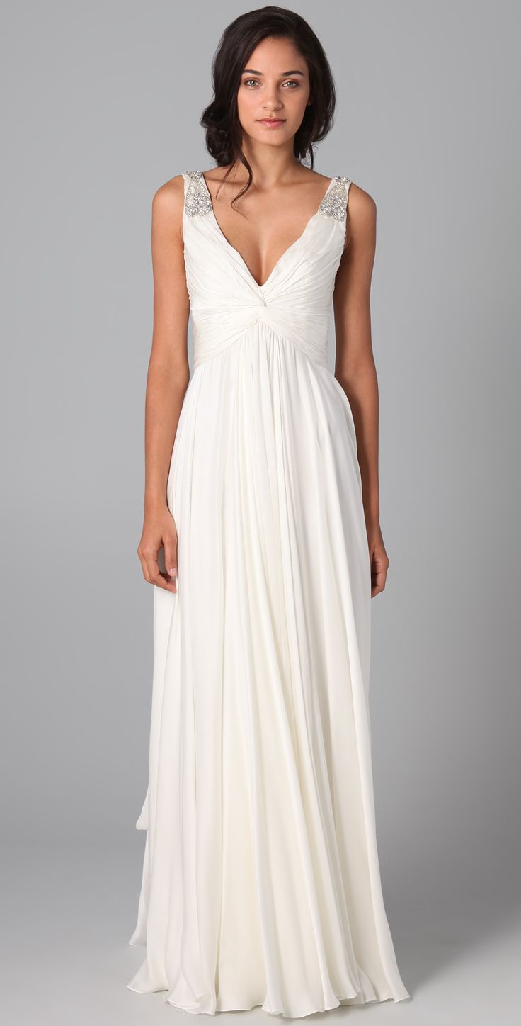 Casual Long A Line V Neck White Chiffon Wedding Dress 2013