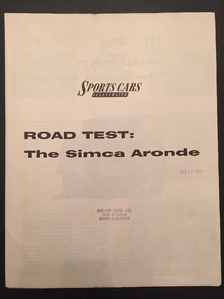 Vintage 1958 Sports Car Illustrated Road Test: The Simca Aronde Brochure Paper  | eBay