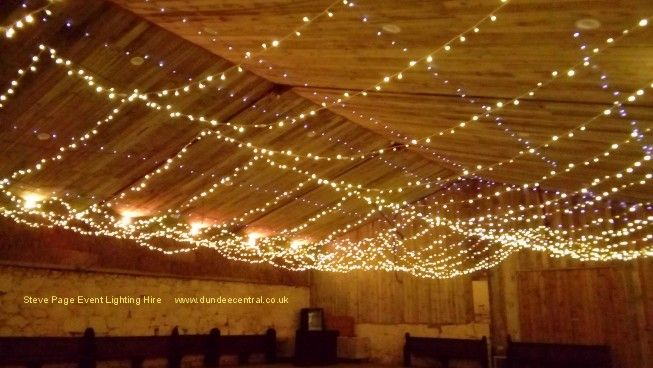 Fairy light roof at Comrie Croft
