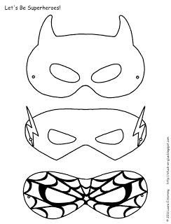 Máscaras súper héroes para colorear. www.fiestastempranito.com/contacto  Superhero mask Printables