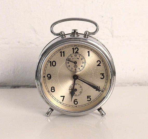 Vintage Alarm Clock  Silver metal  Retro alarm clock