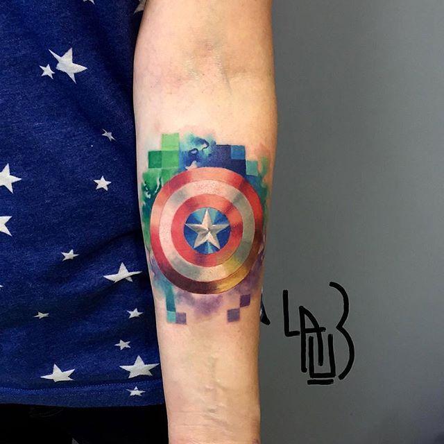 © @leshalauz 🇷🇺Moscow 📨leshalauz666@gmail.com  #tattrx #leshalauz #avengers #captainamerica #marvel #popart #pixels #тату #татуировка #Москва #Россия #painting #captainamericacivilwar #election #tattooart #tattooing #tattooist #tattoos #tatuagem #tatuaje #dövme #americana #streetartistry #artistsoninstagram #artoftheday #instaartist #artlife #arte