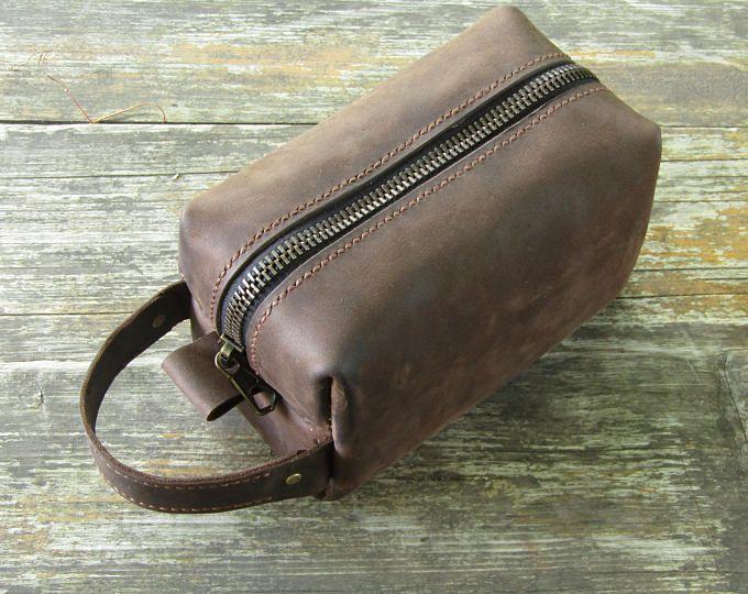 Dopp Kit bolso, regalo de neceser de cuero, cuero del bolso de artículos de tocador para hombre, hombres