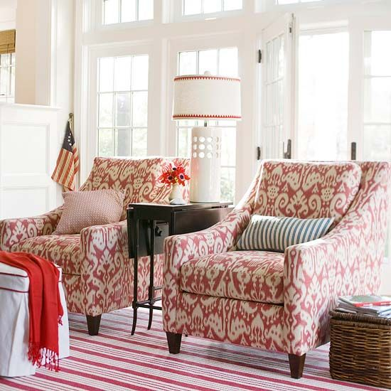 like fabricIdeas, Living Rooms, Mixing Patterns, Livingroom, Colors, Red Chairs, Home Decor, Club Chairs, Fabrics