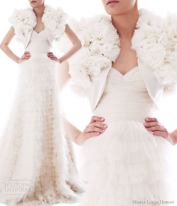 Maria Lucia Hohan Fall/Winter 2010-2011 bridal collection - Lilia silk mousseline flower bolero, worn with Melody wedding gown