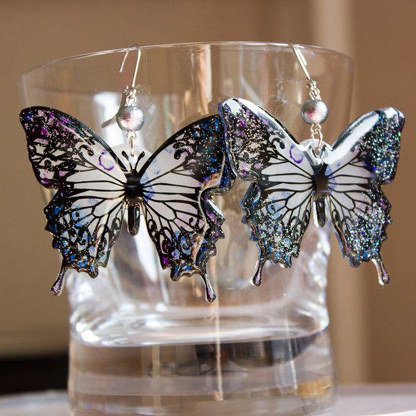 蝶々ピアス アラビアンナイト柄 ブルー