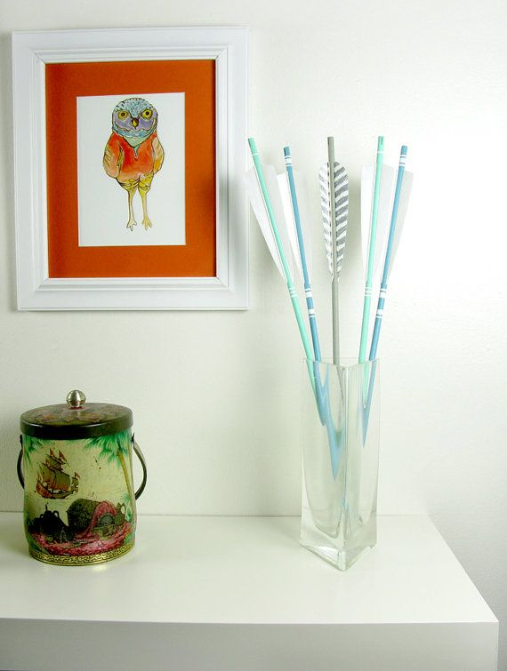 Home Decor Arrows Real Feather Ends in Blue and Sea Green