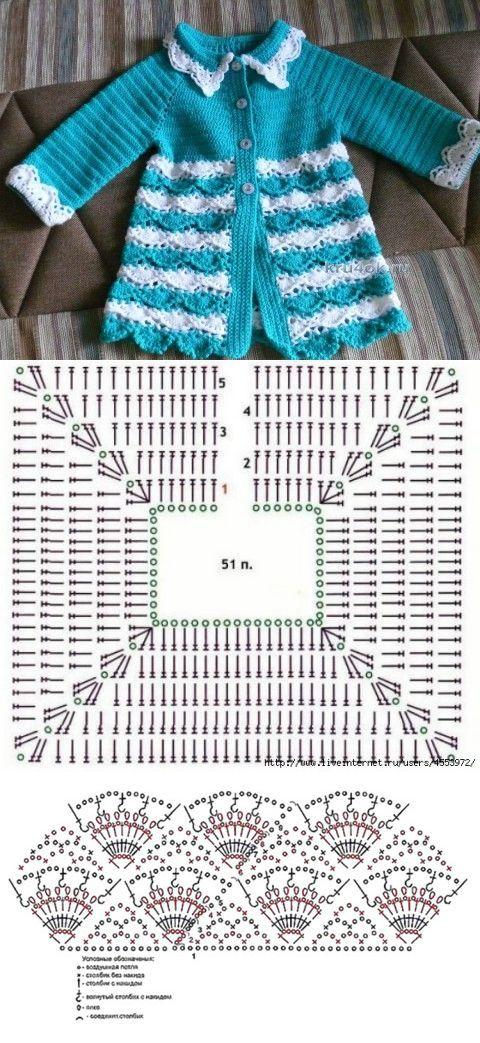 Вязаный кардиган для девочки — работа Надежды - вязание крючком на kru4ok.ru | вяжем детям | Постила